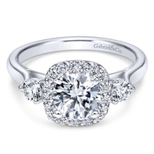 Load image into Gallery viewer, Gabriel Bridal Collection White Gold Diamond Diamond Accent Halo Engagement Ring and Side Stone Setting (0.52 ctw)
