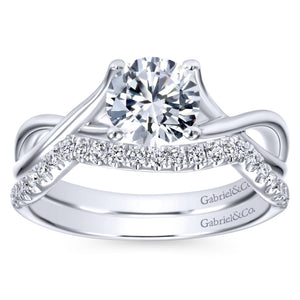 Gabriel Bridal Collection White Gold Polished Criss Cross Engagement Ring (0 ctw)