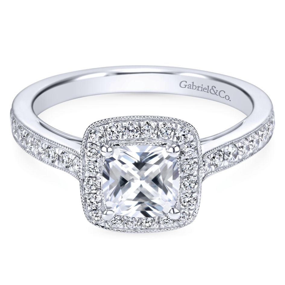 Gabriel Bridal Collection White Gold Diamond Halo Engagement Ring with Channel Setting (0.43 ctw)