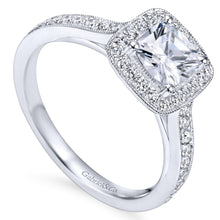 Load image into Gallery viewer, Gabriel Bridal Collection White Gold Diamond Halo Engagement Ring with Channel Setting (0.43 ctw)