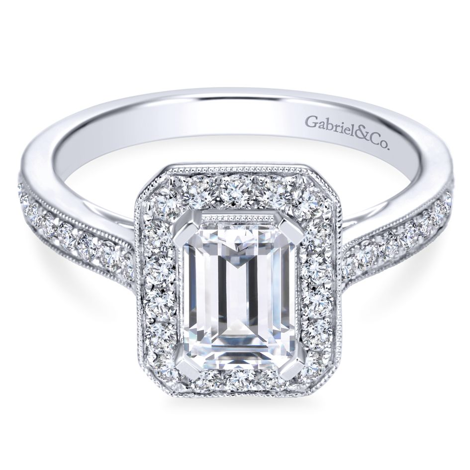 Gabriel Bridal Collection White Gold Emerald Cut Diamond Halo Engagement Ring with Channel Setting (0.52 ctw)
