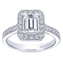 Load image into Gallery viewer, Gabriel Bridal Collection White Gold Emerald Cut Diamond Halo Engagement Ring with Channel Setting (0.52 ctw)
