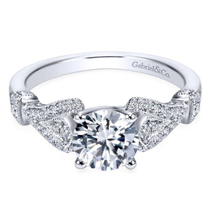 Gabriel Bridal Collection White Gold Diamond Straight Diamond Accent Filigree Engagement Ring (0.28 ctw)