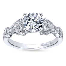 Load image into Gallery viewer, Gabriel Bridal Collection White Gold Diamond Straight Diamond Accent Filigree Engagement Ring (0.28 ctw)
