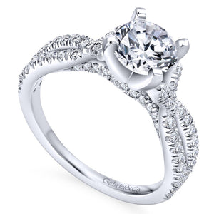 Gabriel Bridal Collection White Gold Diamond Diamond Accent Criss Cross Engagement Ring (0.54 ctw)