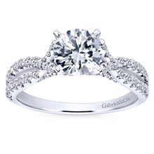 Load image into Gallery viewer, Gabriel Bridal Collection White Gold Diamond Diamond Accent Criss Cross Engagement Ring (0.54 ctw)