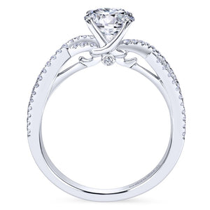 Gabriel Bridal Collection White Gold Diamond Diamond Accent Criss Cross Engagement Ring (0.22 ctw)