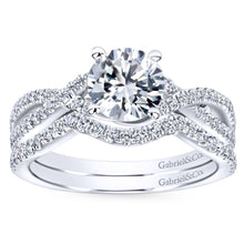 Load image into Gallery viewer, Gabriel Bridal Collection White Gold Diamond Diamond Accent Criss Cross Engagement Ring (0.22 ctw)