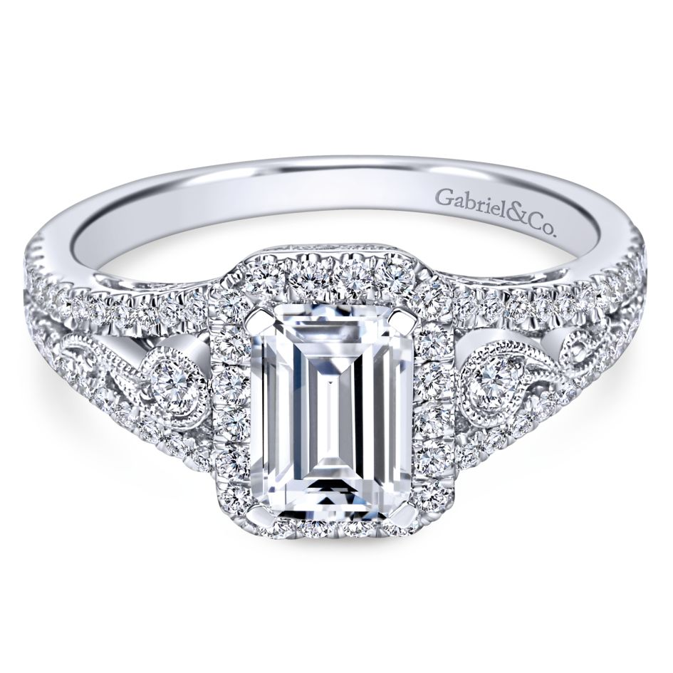 Gabriel Bridal Collection White Gold Diamond Emerald Cut Diamond Accent Halo Engagement Ring and Filigree Setting (0.49 ctw)