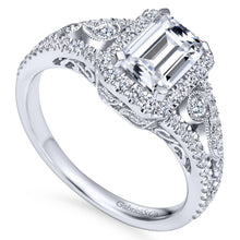 Load image into Gallery viewer, Gabriel Bridal Collection White Gold Diamond Emerald Cut Diamond Accent Halo Engagement Ring and Filigree Setting (0.49 ctw)