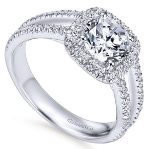 Gabriel Bridal Collection White Gold Round Diamond Halo Diamond Accent Split Shank Engagement Ring (0.55 ctw)