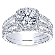 Load image into Gallery viewer, Gabriel Bridal Collection White Gold Round Diamond Halo Diamond Accent Split Shank Engagement Ring (0.55 ctw)
