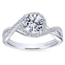Load image into Gallery viewer, Gabriel Bridal Collection White Gold Diamond Diamond Accent Criss Cross Engagement Ring with Halo (0.24 ctw)