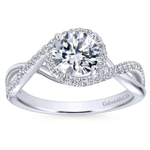 Gabriel Bridal Collection White Gold Diamond Diamond Accent Criss Cross Engagement Ring with Halo (0.24 ctw)