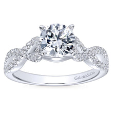Load image into Gallery viewer, Gabriel Bridal Collection White Gold Diamond Diamond Accent Criss Cross Engagement Ring with Cathedral Setting (0.37 ctw)
