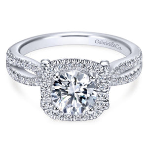 Gabriel Bridal Collection White Gold Diamond Diamond Accent Halo Split Shank Engagement Ring (0.5 ctw)