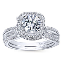Load image into Gallery viewer, Gabriel Bridal Collection White Gold Diamond Diamond Accent Halo Split Shank Engagement Ring (0.5 ctw)
