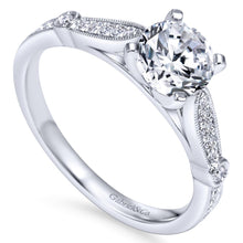 Load image into Gallery viewer, Gabriel Bridal Collection White Gold Diamond Straight Petite Channel Engagement Ring with Cathedral Setting (0.17 ctw)