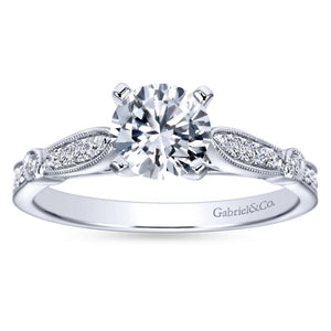 Gabriel Bridal Collection White Gold Diamond Straight Petite Channel Engagement Ring with Cathedral Setting (0.17 ctw)