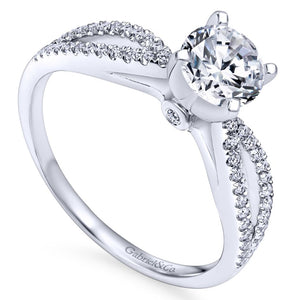 Gabriel Bridal Collection White Gold Split Shank Engagement Ring (0.19 ctw)