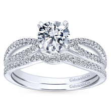 Load image into Gallery viewer, Gabriel Bridal Collection White Gold Split Shank Engagement Ring (0.19 ctw)