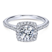 Load image into Gallery viewer, Gabriel Bridal Collection White Gold Diamond Halo Engagement Ring and French Diamond Accent Shank (0.39 ctw)