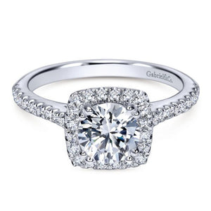 Gabriel Bridal Collection White Gold Diamond Halo Engagement Ring and French Diamond Accent Shank (0.39 ctw)