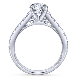 Gabriel Bridal Collection White Gold Graduating Diamond Accent Diamond Engagement Ring on Straight Band (0.53 ctw)