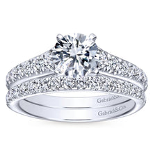 Load image into Gallery viewer, Gabriel Bridal Collection White Gold Graduating Diamond Accent Diamond Engagement Ring on Straight Band (0.53 ctw)