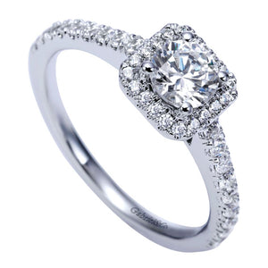 Gabriel Bridal Collection White Gold Halo Engagement Ring (0.37 ctw)
