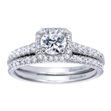Load image into Gallery viewer, Gabriel Bridal Collection White Gold Halo Engagement Ring (0.37 ctw)