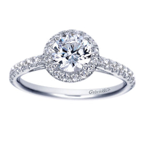 Gabriel Bridal Collection White Gold Halo Engagement Ring (0.41 ctw)