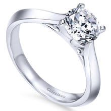 Load image into Gallery viewer, Gabriel Bridal Collection White Gold Solitaire Knife Edge Engagement Ring (0 ctw)