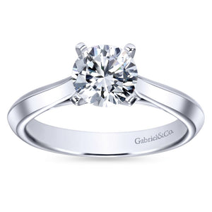 Gabriel Bridal Collection White Gold Solitaire Knife Edge Engagement Ring (0 ctw)