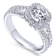 Load image into Gallery viewer, Gabriel Bridal Collection White Gold Halo Engagement Ring (0.78 ctw)
