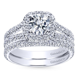 Gabriel Bridal Collection White Gold Halo Engagement Ring (0.78 ctw)