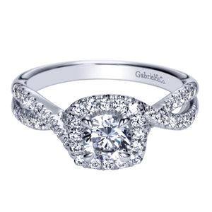 Gabriel Bridal Collection White Gold Halo Engagement Ring (0.4 ctw)