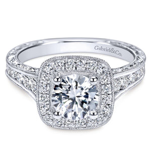 Gabriel Bridal Collection White Gold Diamond Halo Channel and Milgrain Engagement Ring (0.85 ctw)
