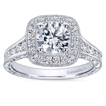 Load image into Gallery viewer, Gabriel Bridal Collection White Gold Diamond Halo Channel and Milgrain Engagement Ring (0.85 ctw)