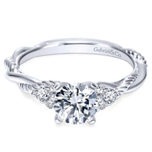 Load image into Gallery viewer, Gabriel Bridal Collection White Gold Diamond Criss Cross Riata Engagement Ring (0.13 ctw)