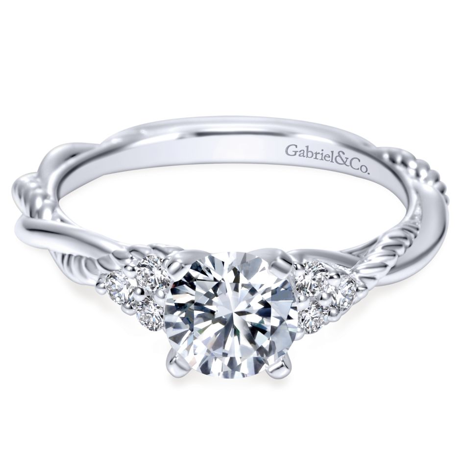 Gabriel Bridal Collection White Gold Diamond Criss Cross Riata Engagement Ring (0.13 ctw)