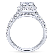 Load image into Gallery viewer, Gabriel Bridal Collection White Gold Diamond Cushion Cut Halo Triple Diamond Accent Engagement Ring (1.18 ctw)