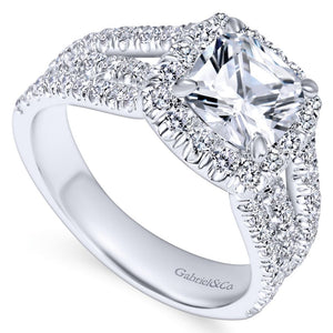 Gabriel Bridal Collection White Gold Diamond Cushion Cut Halo Triple Diamond Accent Engagement Ring (1.18 ctw)