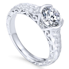 Load image into Gallery viewer, Gabriel Bridal Collection White Gold Diamond Filigree Solitaire Engagement Ring with Hammered Shank (0.04 ctw)