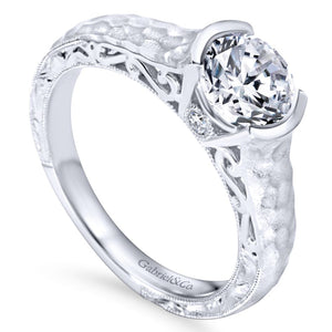 Gabriel Bridal Collection White Gold Diamond Filigree Solitaire Engagement Ring with Hammered Shank (0.04 ctw)