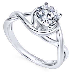 Gabriel Bridal Collection White Gold Polished Criss Cross Engagement Ring with Four Prong Setting (0 ctw)