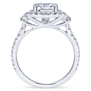 Gabriel Bridal Collection White Gold Diamond Cushion Cut Halo Engagement Ring with Accent Diamonds (0.91 ctw)