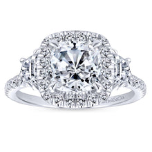 Load image into Gallery viewer, Gabriel Bridal Collection White Gold Diamond Cushion Cut Halo Engagement Ring with Accent Diamonds (0.91 ctw)