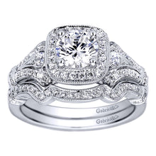 Load image into Gallery viewer, Gabriel Bridal Collection White Gold Halo Engagement Ring (0.34 ctw)