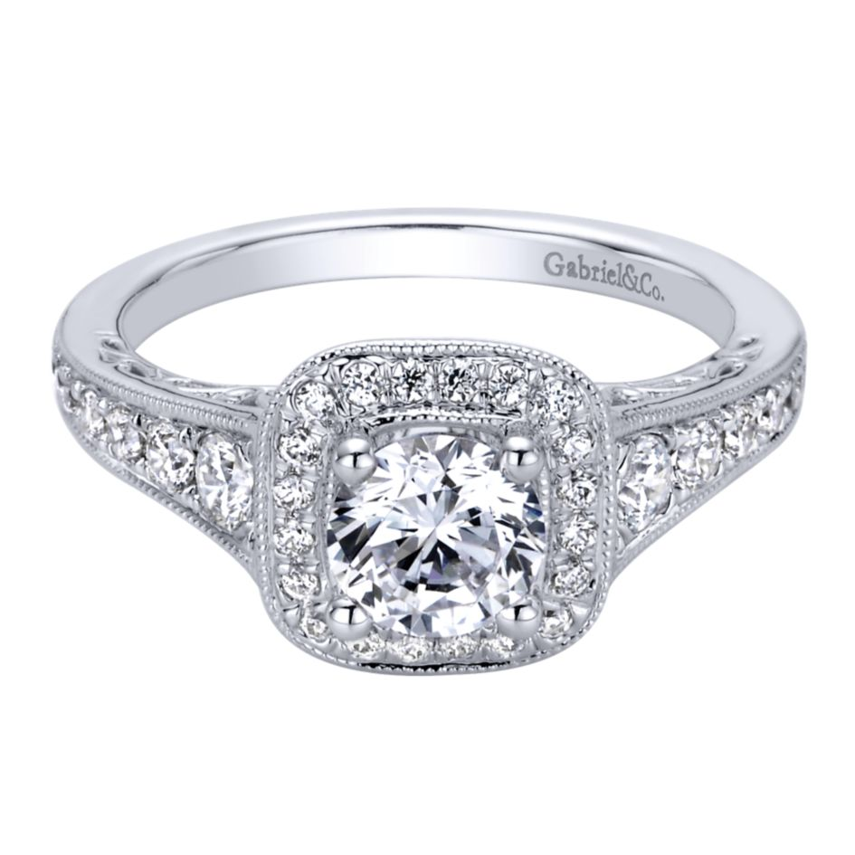 Gabriel Bridal Collection White Gold Halo Engagement Ring (0.47 ctw)